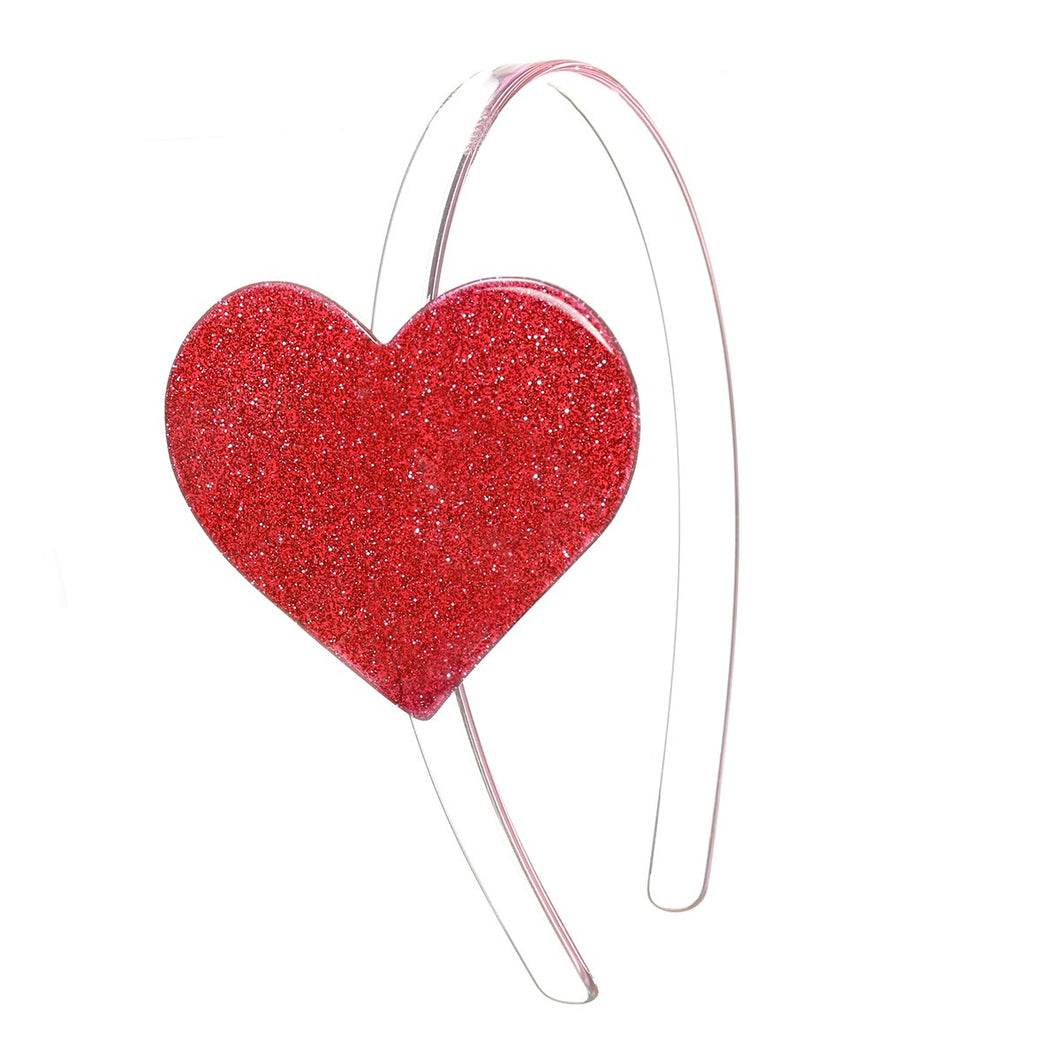 Cece Big Heart Headband - Glitter Red
