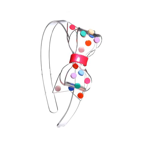 Fat Bow Colorful Dots Clear Headband