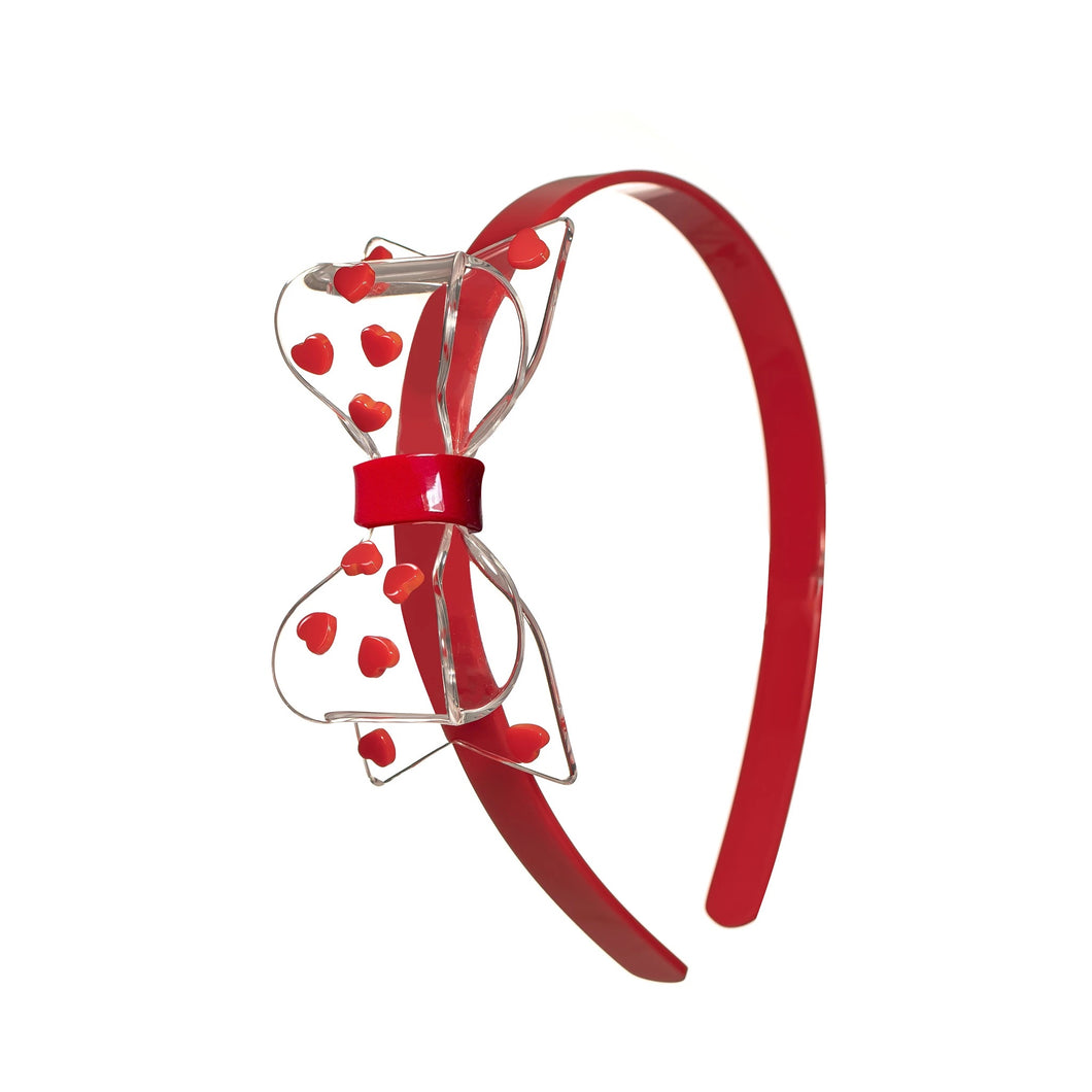 Fat Bow Headbands - Clear Bow with Red Hearts