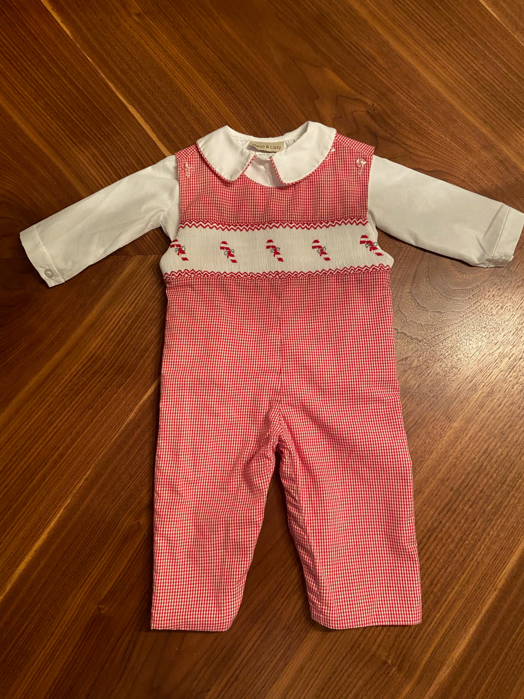 Candy Canes Hand Smocked Romper