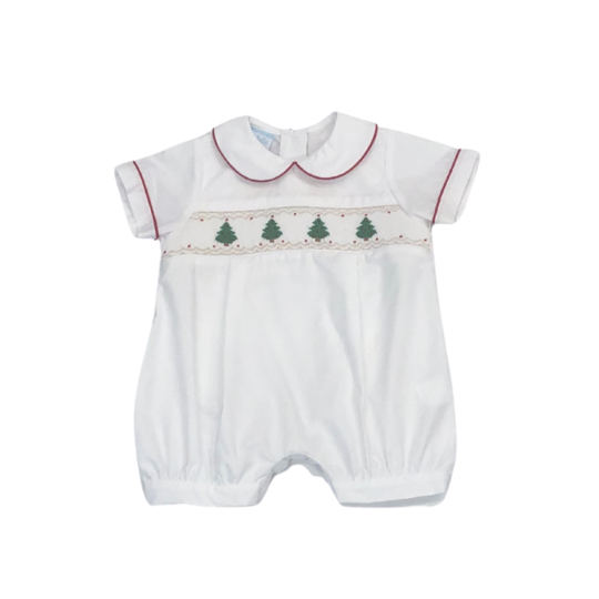 Baby Boy White Poplin Hand Smocked Christmas Trees Bubble