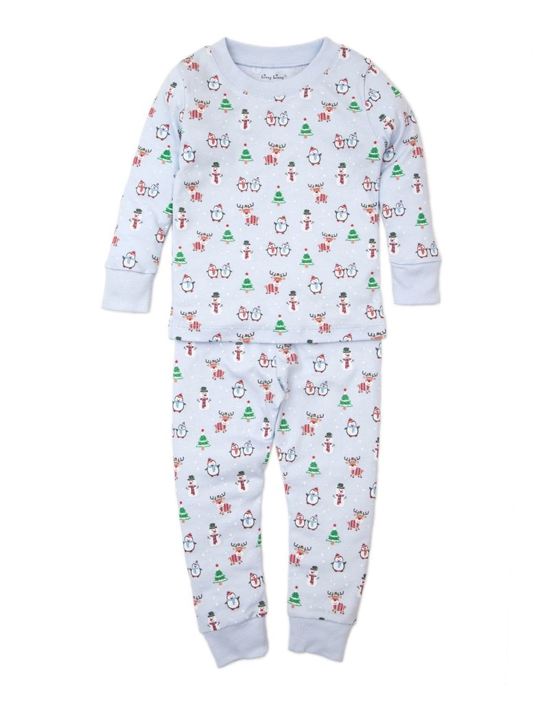 Blue Holiday Fun Pima Cotton Toddler Pajama