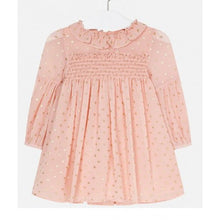 Load image into Gallery viewer, Peach Sparkly Long Sleeved Chiffon Dress - Size 3T, 4T