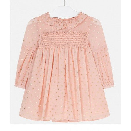 Peach Sparkly Long Sleeved Chiffon Dress - Size 3T, 4T