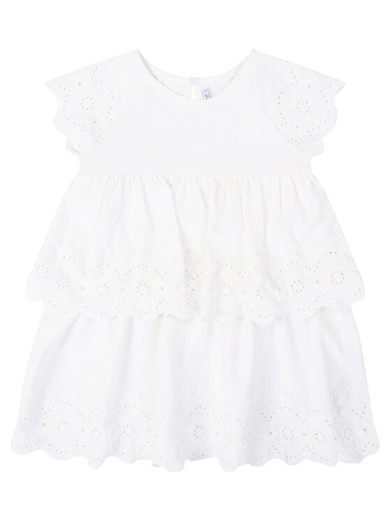 Natural White Embroidered Dress - Size 3T