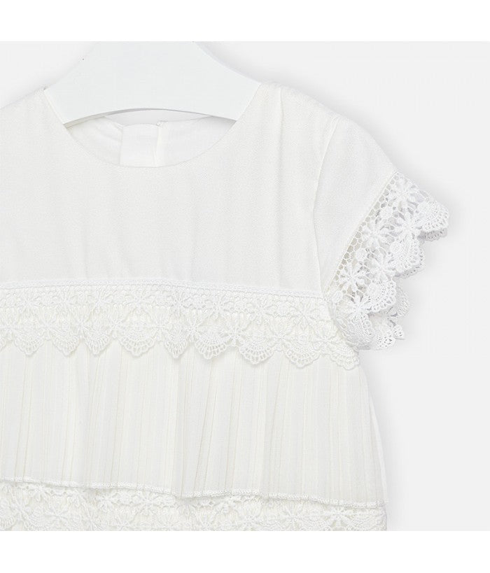 Pleated Guipur White Lace Dress - Size 3T
