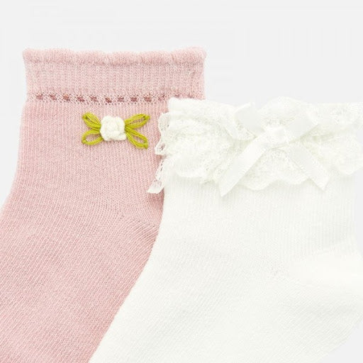 2 Pack Flower Pink And White Socks