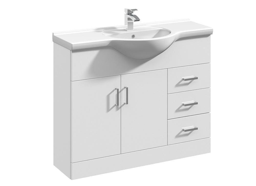 1050mm White Gloss Bathroom Vanity Unit