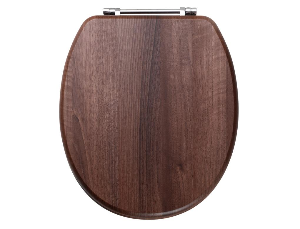 Soft Close Dark Walnut Toilet Seat