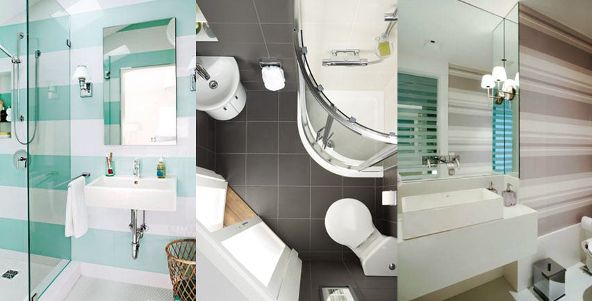 Clever Wallpaper and Angles for Small Bathroom Designs