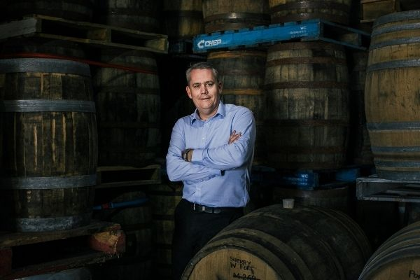 Cameron Syme in the barrel room