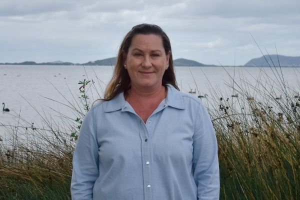 Christine Kittow with Frenchman Bay in the background