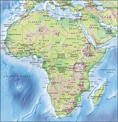 Photoshop JPEG Relief map and Illustrator EPS vector map Africa continent