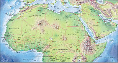 Photoshop JPEG Relief map and Illustrator EPS vector map Northern Africa continent