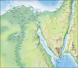 Photoshop JPEG Relief map and Illustrator EPS vector map Egypt, Suez Canal, Nile Delta, Sinai