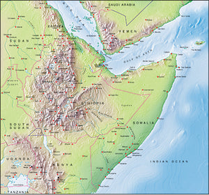 Photoshop JPEG Relief map and Illustrator EPS vector map Ethiopia, Somalia, Yemen