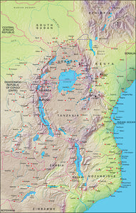 Photoshop JPEG Relief map and Illustrator EPS vector map East Africa, Kenya