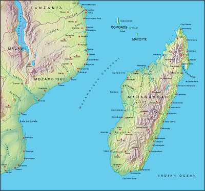 Photoshop JPEG Relief map and Illustrator EPS vector map Madagascar