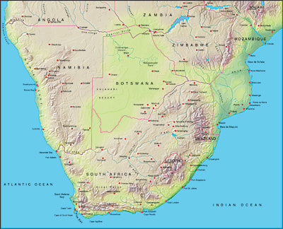 Photoshop JPEG Relief map and Illustrator EPS vector map South Africa, Zimbabwe