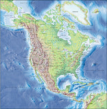 Photoshop JPEG Relief map and Illustrator EPS vector map Northern America continent