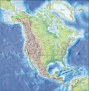 Photoshop JPEG Relief map and Illustrator EPS vector map collection America continent 16 maps