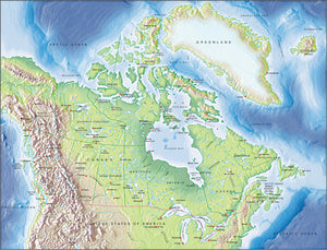 Photoshop JPEG Relief map and Illustrator EPS vector map Canada