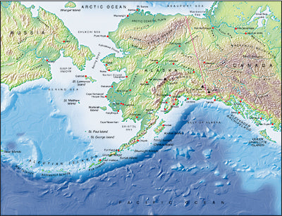 Photoshop JPEG Relief map and Illustrator EPS vector map Alaska, North East Siberia
