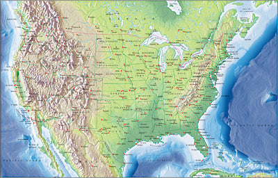 Photoshop JPEG Relief map and Illustrator EPS vector map USA