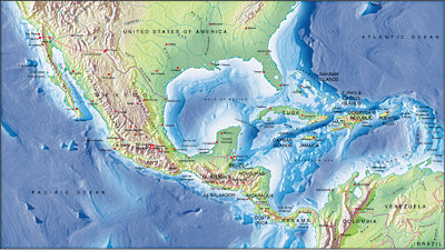 Photoshop JPEG Relief map and Illustrator EPS vector map Central America