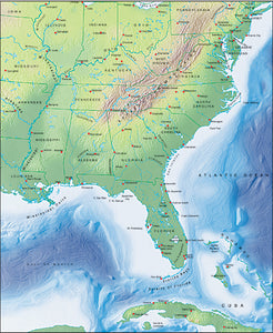 Photoshop JPEG Relief map and Illustrator EPS vector map USA Eastern