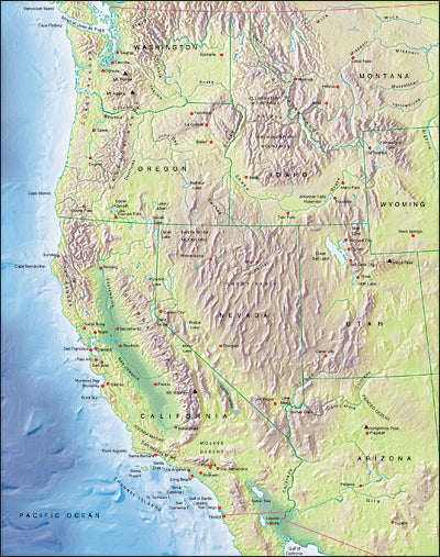 Photoshop JPEG Relief map and Illustrator EPS vector map USA Western