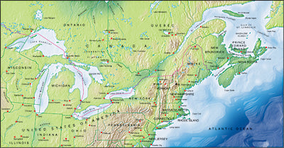 Photoshop JPEG Relief map and Illustrator EPS vector map Great Lakes, St Lawrence Seaway