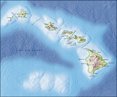 Photoshop JPEG Relief map and Illustrator EPS vector map Hawaiian Islands