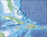 Photoshop JPEG Relief map and Illustrator EPS vector map West Indies, Greater Antilles