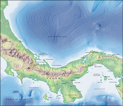 Photoshop JPEG Relief map and Illustrator EPS vector map Panama