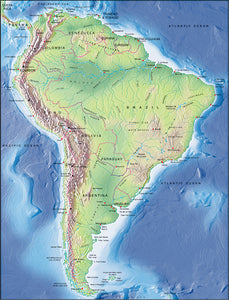 Photoshop JPEG Relief map and Illustrator EPS vector map South America continent