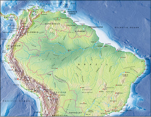 Photoshop JPEG Relief map and Illustrator EPS vector map South America, Northern half