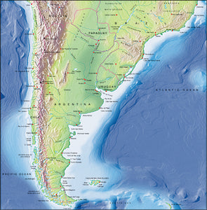 Photoshop JPEG Relief map and Illustrator EPS vector map South American, Southern half