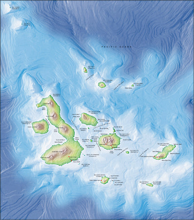 Photoshop JPEG Relief map and Illustrator EPS vector map Galapagos Islands