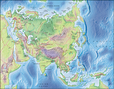 Photoshop JPEG Relief map and Illustrator EPS vector map Eurasia