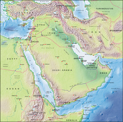 Photoshop JPEG Relief map and Illustrator EPS vector map Saudi Arabia