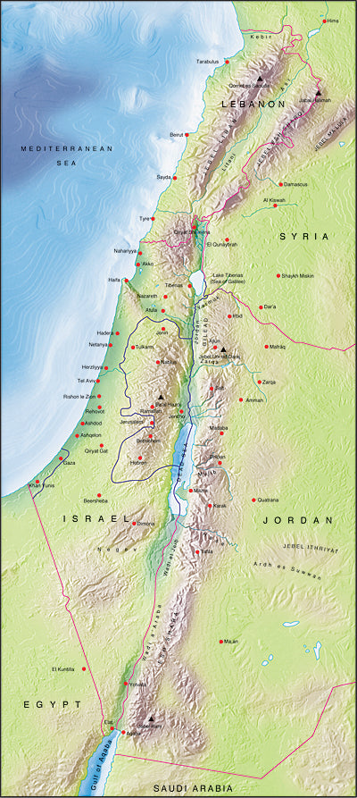 Photoshop JPEG Relief map and Illustrator EPS vector map Israel, Lebanon, West Bank, Gaza Strip