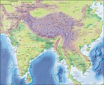 Photoshop JPEG Relief map and Illustrator EPS vector map Central Asia
