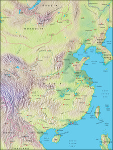 Photoshop JPEG Relief map and Illustrator EPS vector map China, Korea