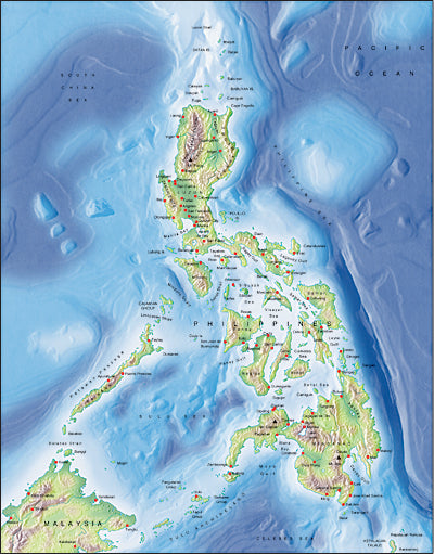 Photoshop JPEG Relief map and Illustrator EPS vector map Philippines