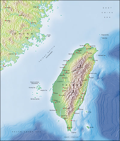 Photoshop JPEG Relief map and Illustrator EPS vector map Taiwan