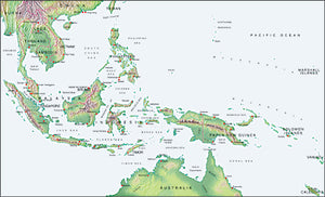 Photoshop JPEG Relief map and Illustrator EPS vector map East Indies, Indonesia