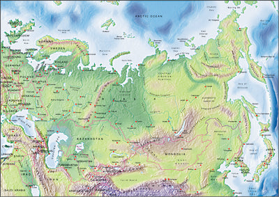 Photoshop JPEG Relief map and Illustrator EPS vector map Russia