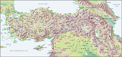 Photoshop JPEG Relief map and Illustrator EPS vector map Turkey