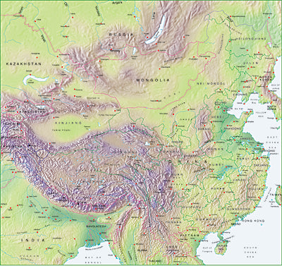 Photoshop JPEG Relief map and Illustrator EPS vector map China